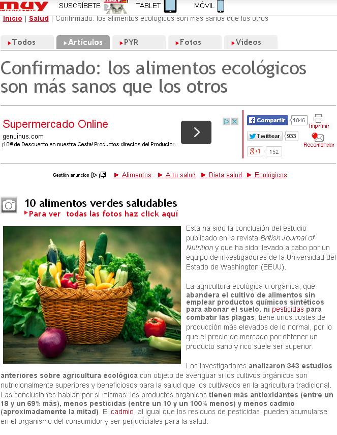 Es la comida ecológica mejor para la salud? Va a ser que no ...