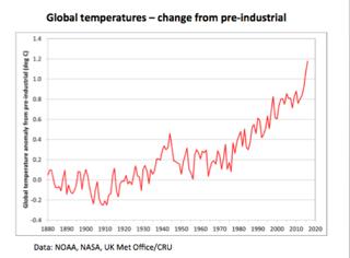 Variación global de la temperatura en las últimas décadas. Fuente: OMM.